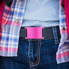 grip6 belts women's classic series pink (rose) buckle w/ navy strap