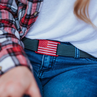 GRIP6 Belts Women's Flag Vintage USA Red Buckle