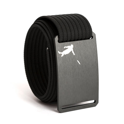Huck Norris Disc Golf Gunmetal Buckle GRIP6 Black belt strap swatch-image