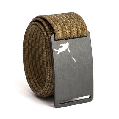 Huck Norris Disc Golf Gunmetal Buckle GRIP6 Khaki belt strap swatch-image