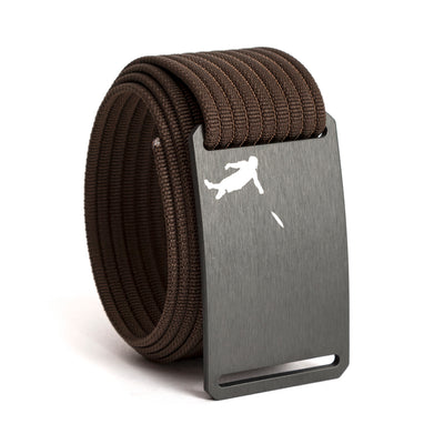 Huck Norris Disc Golf Gunmetal Buckle GRIP6 Mocha belt strap swatch-image