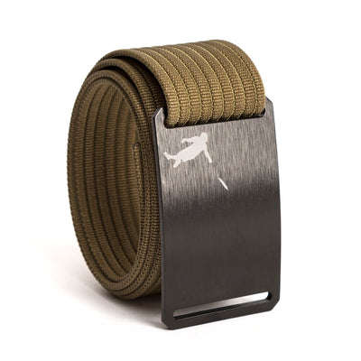 Huck Norris Disc Golf Black Buckle GRIP6 Khaki belt strap swatch-image