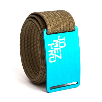 Jomez Pro Disc Golf Teal Buckle GRIP6 Khaki belt strap swatch-image