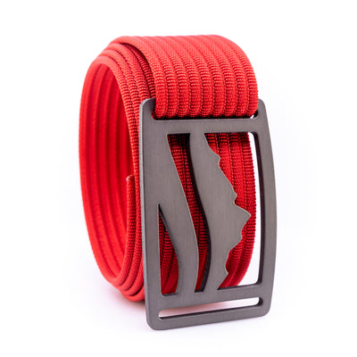 Gunmetal Wasatch GRIP6 Men's belt with Red strap swatch-image