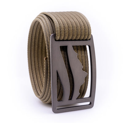 Gunmetal Wasatch GRIP6 Men's belt with Khaki strap swatch-image 360view