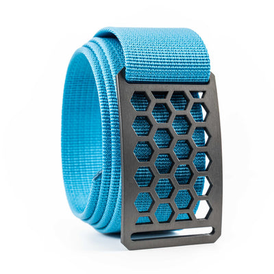 Men's Conservation Honeycomb Gunmetal buckle GRIP6 Glacier Blue belt strap swatch-image