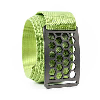 Men's Conservation Honeycomb Gunmetal buckle GRIP6 Lime Green belt strap swatch-image