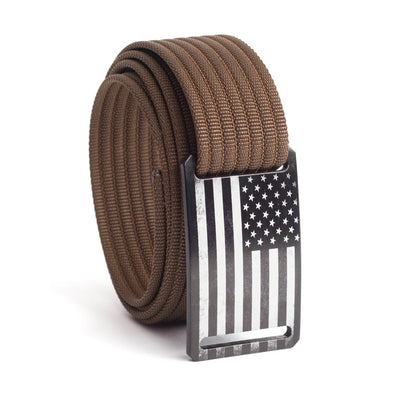 Men's USA Black Flag Narrow Buckle GRIP6 belt with Mocha strap swatch-image