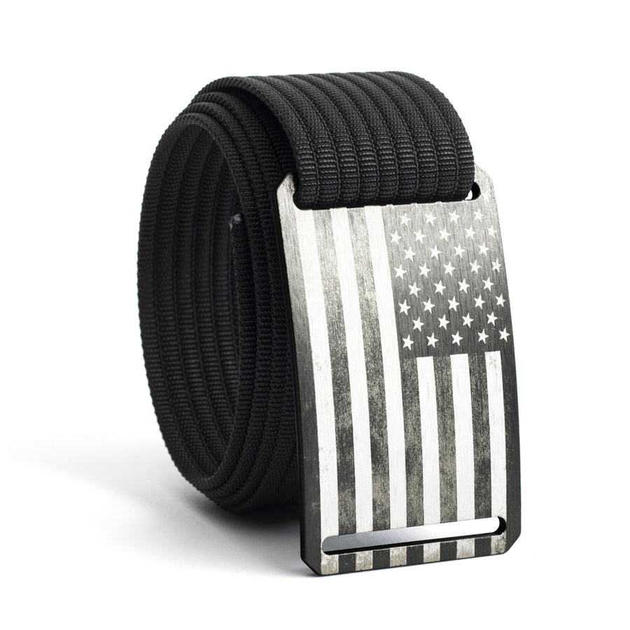 7938342953a24 Men's USA Gunmetal Flag Buckle GRIP6 belt with Black strap swatch-image