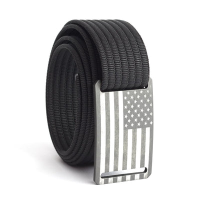 Kids' USA Gunmetal Flag Buckle GRIP6 belt with Black strap swatch-image
