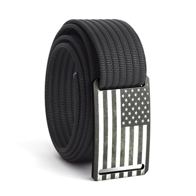 Men's USA Gunmetal Flag Narrow Buckle GRIP6 belt with Black strap swatch-image
