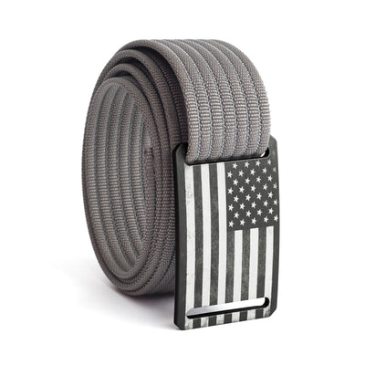 Men's USA Gunmetal Flag Narrow Buckle GRIP6 belt with Grey strap swatch-image