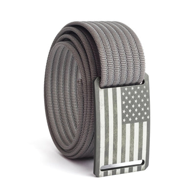Kids' USA Gunmetal Flag Buckle GRIP6 belt with Grey strap swatch-image