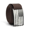 Men's USA Gunmetal Flag Buckle GRIP6 belt with Mocha strap swatch-image