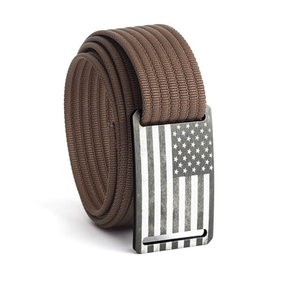 Men's USA Gunmetal Flag Narrow Buckle GRIP6 belt with Mocha strap swatch-image