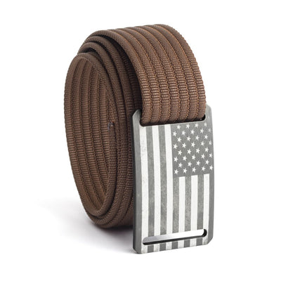 Kids' USA Gunmetal Flag Buckle GRIP6 belt with Mocha strap swatch-image