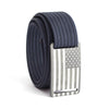 Kids' USA Gunmetal Flag Buckle GRIP6 belt with Navy strap swatch-image