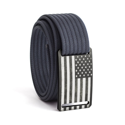 Men's USA Gunmetal Flag Narrow Buckle GRIP6 belt with Navy strap swatch-image