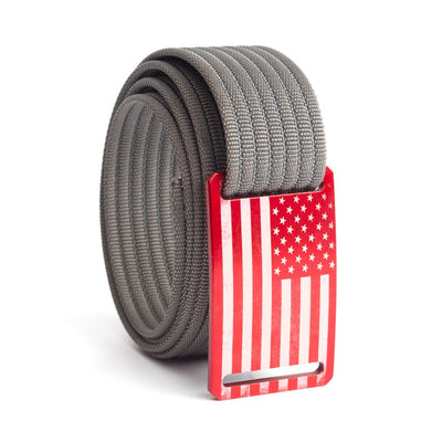 Men's USA Red Flag Narrow Buckle GRIP6 belt with Grey strap swatch-image
