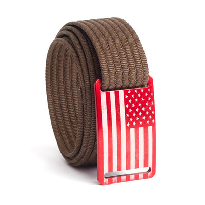 Men's USA Red Flag Narrow Buckle GRIP6 belt with Mocha strap swatch-image