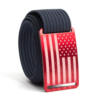 Men's USA Red Flag Buckle GRIP6 belt with Navy strap swatch-image