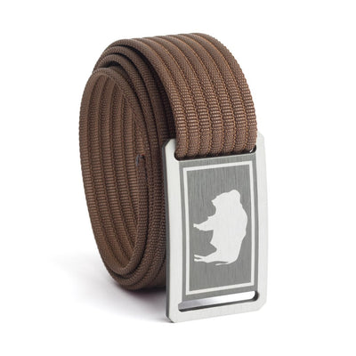 Women's Wyoming Flag Buckle GRIP6 belt with Mocha strap swatch-image