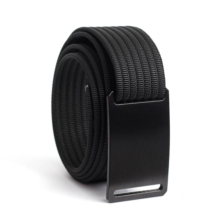 GRIP6 Belts Men's Narrow Classic Ninja (Black) buckle with Grey Strap swatch-image