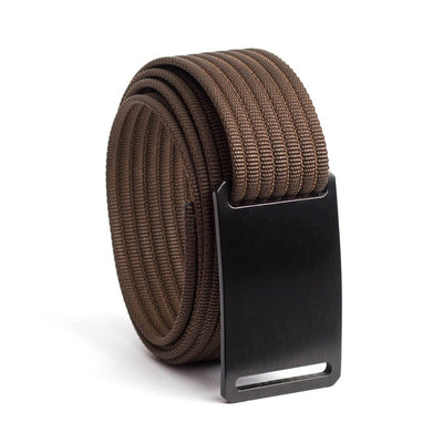 GRIP6 Belts Men's Narrow Classic Ninja (Black) buckle with Mocha Strap swatch-image