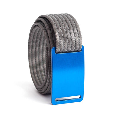 GRIP6 Belts Men's Narrow Classic River (Blue) buckle with Grey Strap swatch-image