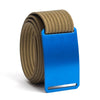 River (blue buckle) GRIP6 Men's belt with Khaki strap swatch-image