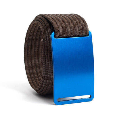 River (blue buckle) GRIP6 Men's belt with Mocha strap swatch-image
