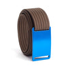 GRIP6 Belts Men's Narrow Classic River (Blue) buckle with Mocha Strap swatch-image
