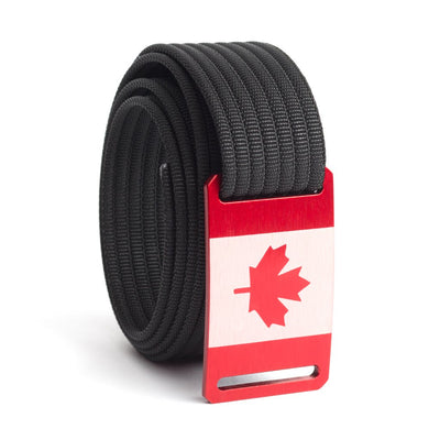 Men's Canada Flag Narrow Buckle GRIP6 belt with Black strap swatch-image