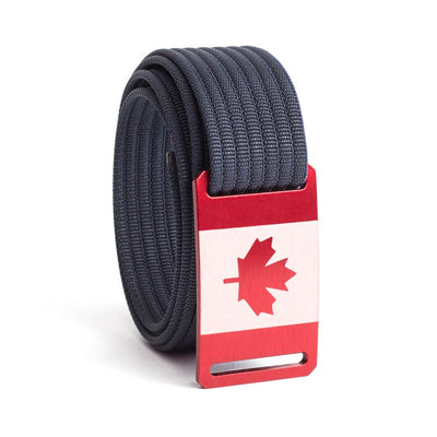 Men's Canada Flag Narrow Buckle GRIP6 belt with Navy strap swatch-image