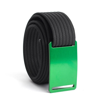 GRIP6 Belts Men's Narrow Classic Moss (Green) buckle with Black Strap swatch-image
