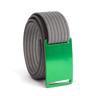 Moss (Green Buckle) GRIP6 Women's belt with Grey strap swatch-image