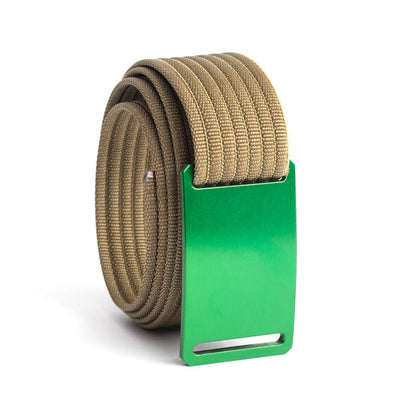 GRIP6 Belts Kids Classic Green (Moss) buckle with khaki strap swatch-image