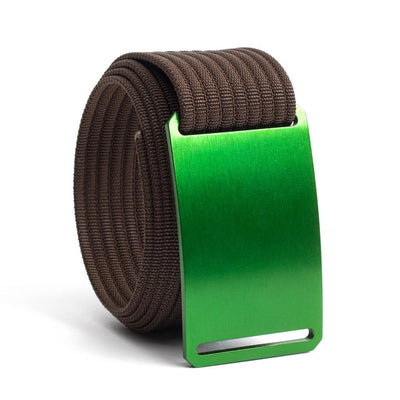 Moss (Green buckle) GRIP6 Men's belt with Mocha strap swatch-image
