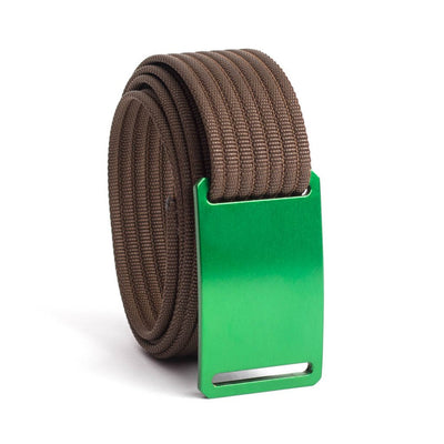 GRIP6 Belts Men's Narrow Classic Moss (Green) buckle with Mocha Strap swatch-image