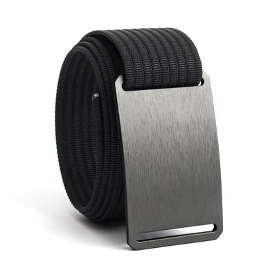 Gunmetal (Grey buckle) GRIP6 Men's belt with Black strap swatch-image