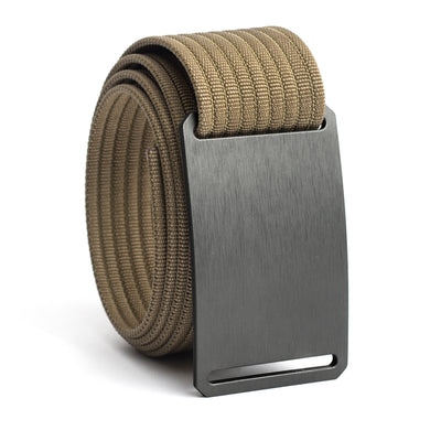 Gunmetal (Grey buckle) GRIP6 Men's belt with Khaki strap swatch-image