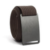 Gunmetal (Grey buckle) GRIP6 Men's belt with Mocha strap swatch-image