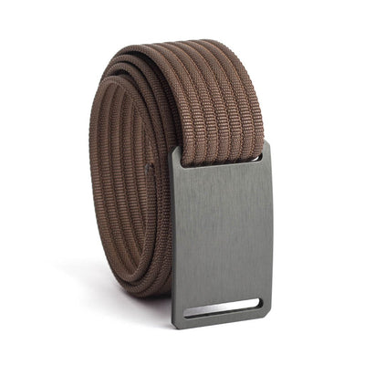 GRIP6 Belts Kids Classic Gunmetal (Grey) buckle with mocha strap swatch-image