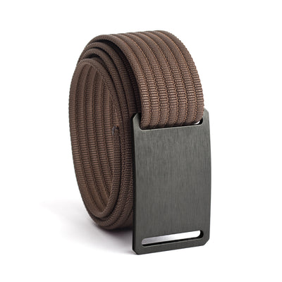 GRIP6 Belts Men's Narrow Classic Gunmetal (Grey) buckle with mocha Strap swatch-image