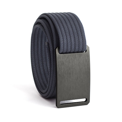 GRIP6 Belts Men's Narrow Classic Gunmetal (Grey) buckle with Navy Strap swatch-image