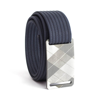 grip6 belts kid's fairway series gunmetal plaid buckle w/ navy strap swatch-image