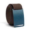 Aggie (Navy buckle) GRIP6 Men's belt with Mocha strap swatch-image