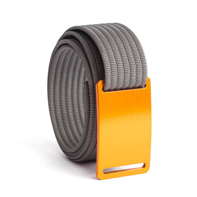 GRIP6 Belts Men's Narrow Classic Foxtail (Orange) buckle with Grey Strap swatch-image