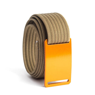 GRIP6 Belts Men's Narrow Classic Foxtail (Orange) buckle with Khaki Strap swatch-image