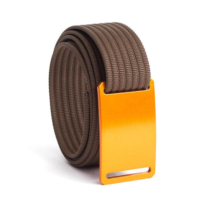 GRIP6 Belts Men's Narrow Classic Foxtail (Orange) buckle with Mocha Strap swatch-image